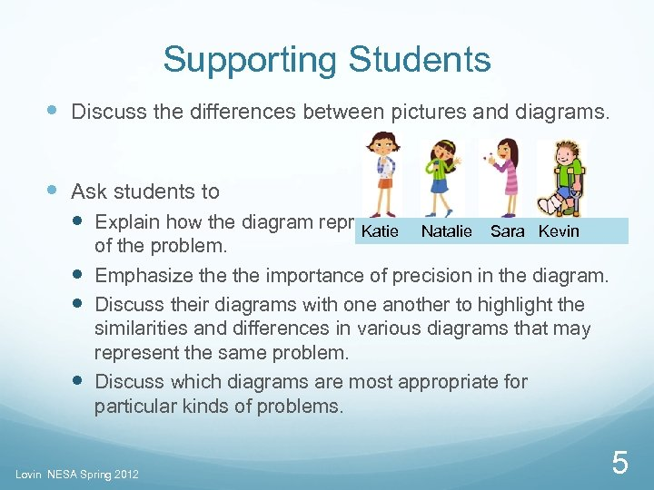 Supporting Students Discuss the differences between pictures and diagrams. Ask students to Explain how