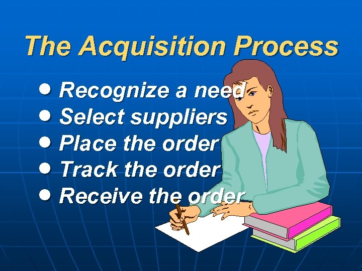 The Acquisition Process Recognize a need Select suppliers Place the order Track the order