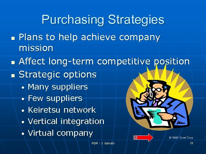Purchasing Strategies Plans to help achieve company mission Affect long-term competitive position Strategic options