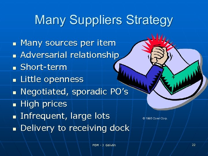 Many Suppliers Strategy Many sources per item Adversarial relationship Short-term Little openness Negotiated, sporadic