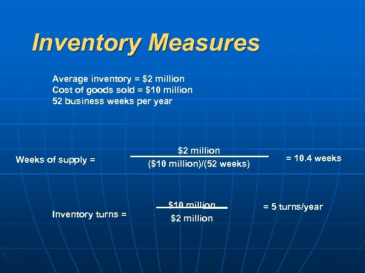Inventory Measures Average inventory = $2 million Cost of goods sold = $10 million