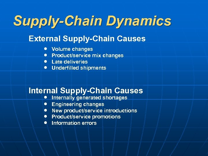 Supply-Chain Dynamics External Supply-Chain Causes Volume changes Product/service mix changes Late deliveries Underfilled shipments