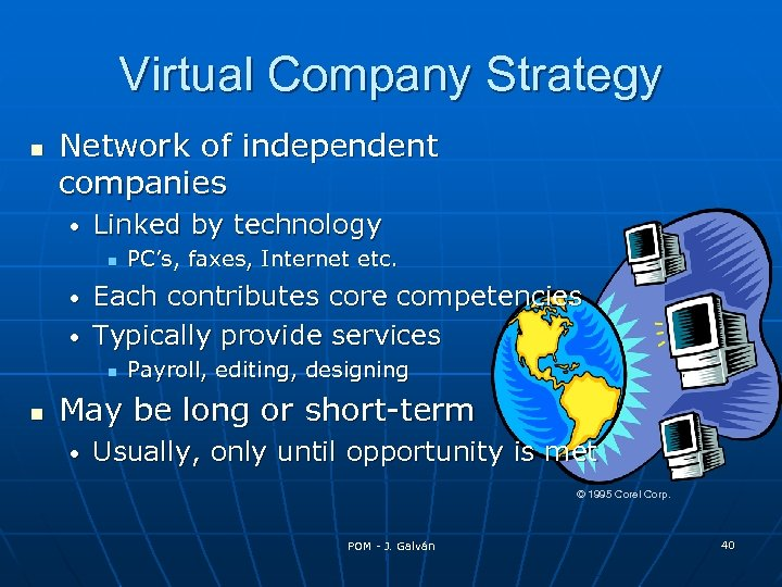 Virtual Company Strategy Network of independent companies • Linked by technology PC's, faxes, Internet