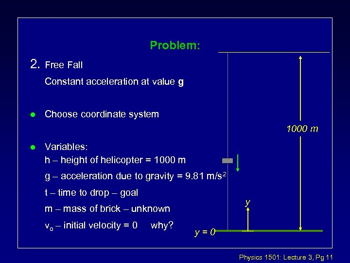 Problem: 2. Free Fall Constant acceleration at value g l Choose coordinate system 1000