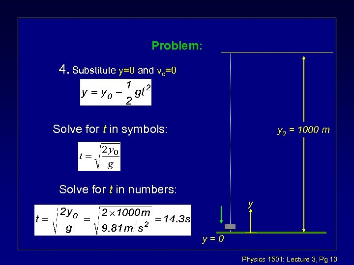 Problem: 4. Substitute y=0 and vo=0 Solve for t in symbols: y 0 =