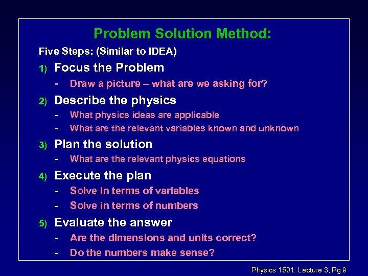 Problem Solution Method: Five Steps: (Similar to IDEA) 1) Focus the Problem - 2)
