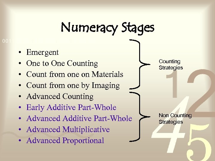 Numeracy Stages • • • Emergent One to One Counting Count from one on