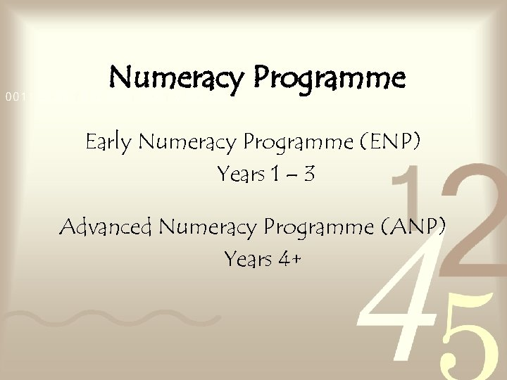 Numeracy Programme Early Numeracy Programme (ENP) Years 1 – 3 Advanced Numeracy Programme (ANP)