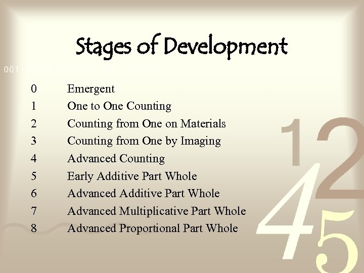 Stages of Development 0 1 2 3 4 5 6 7 8 Emergent One
