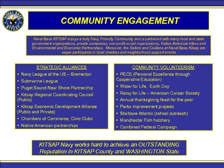 COMMUNITY ENGAGEMENT Naval Base KITSAP enjoys a truly Navy Friendly Community and is partnered