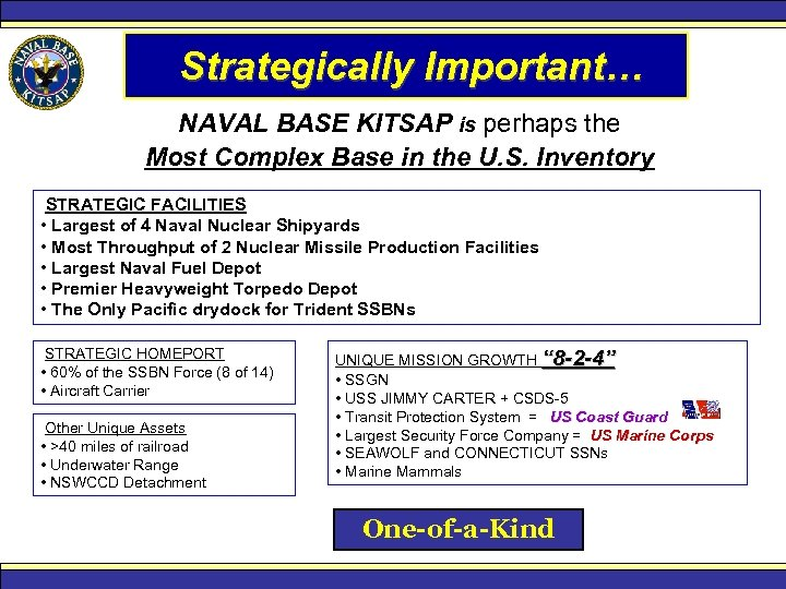 Strategically Important… NAVAL BASE KITSAP is perhaps the Most Complex Base in the U.