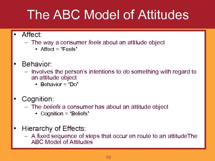 The ABC Model of Attitudes • Affect: – The way a consumer feels about
