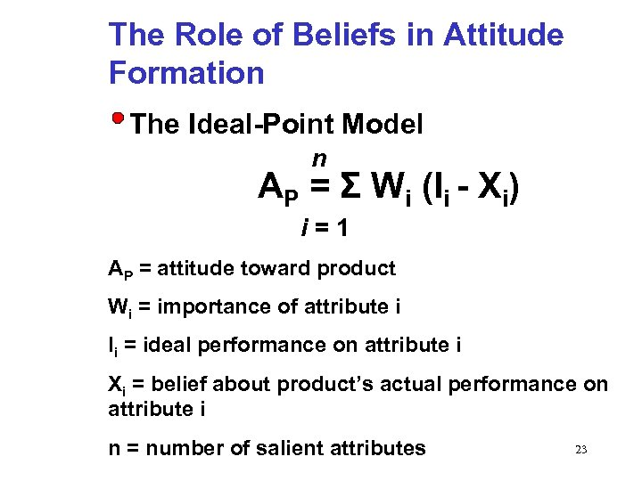 The Role of Beliefs in Attitude Formation The Ideal-Point Model n AP = Σ