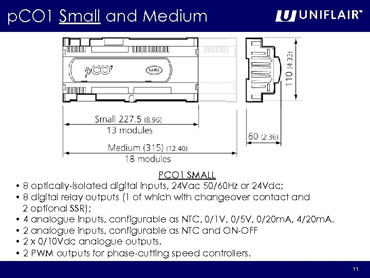p. CO 1 Small and Medium PCO 1 SMALL • 8 optically-isolated digital inputs,