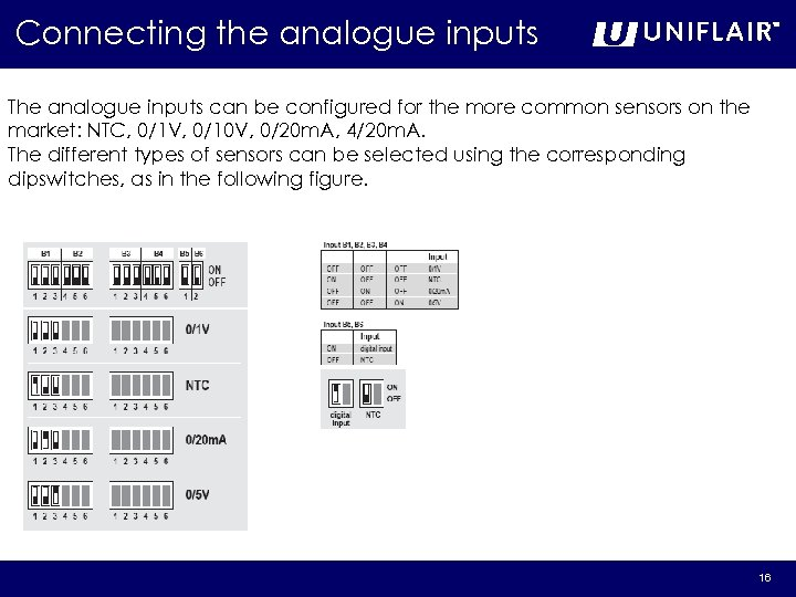 Connecting the analogue inputs The analogue inputs can be configured for the more common