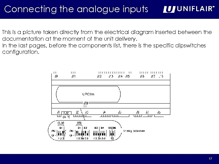 Connecting the analogue inputs This is a picture taken directly from the electrical diagram