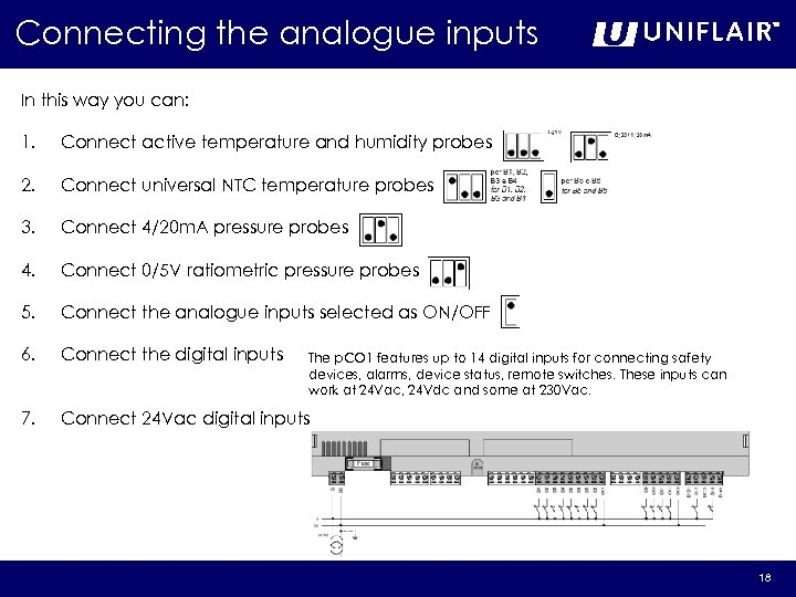 Connecting the analogue inputs In this way you can: 1. Connect active temperature and