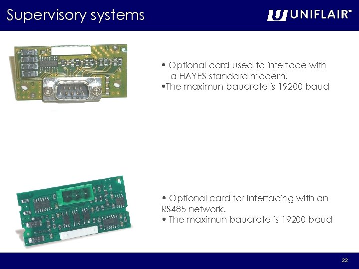 Supervisory systems • Optional card used to interface with a HAYES standard modem. •