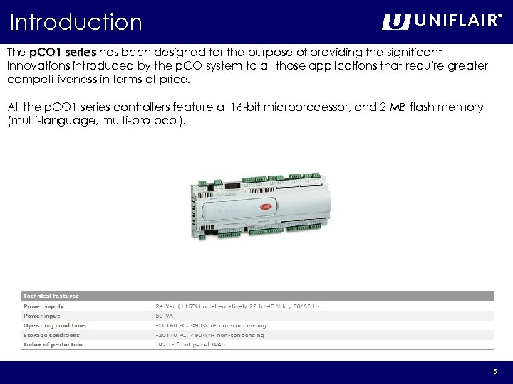 Introduction The p. CO 1 series has been designed for the purpose of providing