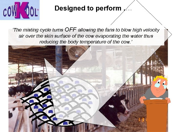 Designed to perform …. 'The misting cycle turns OFF allowing the fans to blow