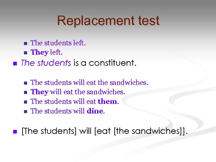 Replacement test n n n The students is a constituent. n n n The