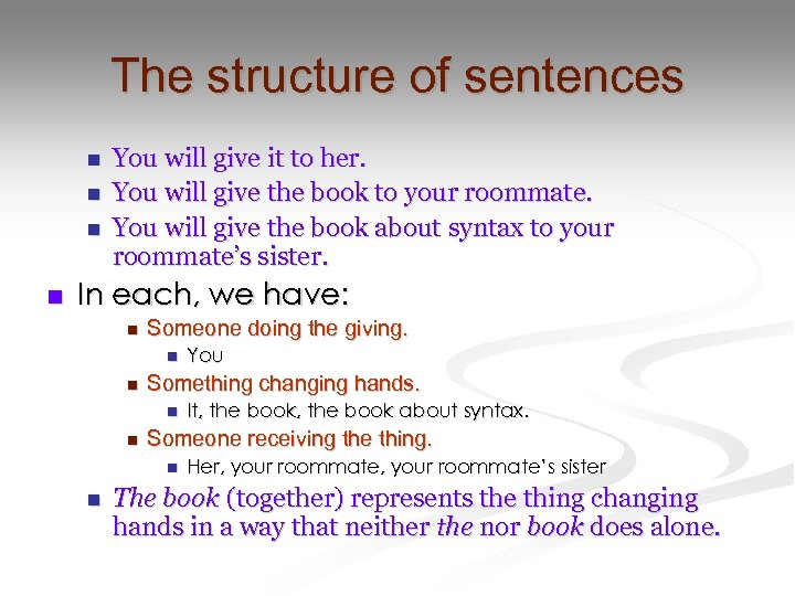 The structure of sentences n n You will give it to her. You will