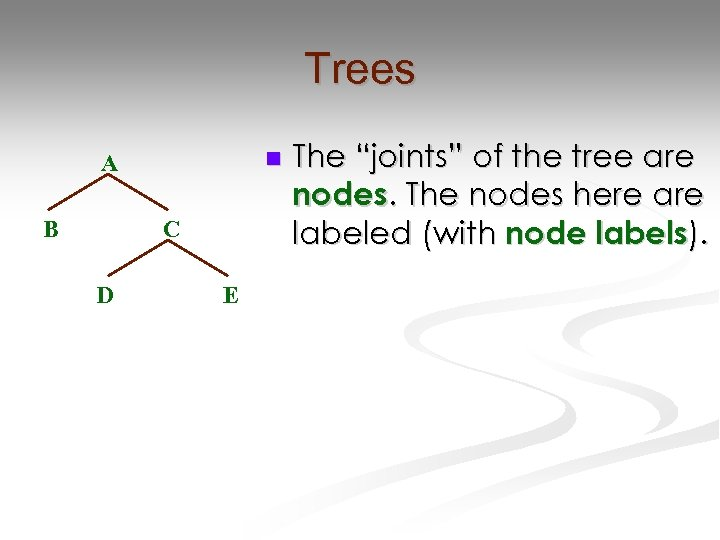 "Trees n A B C D E The ""joints"" of the tree are nodes."