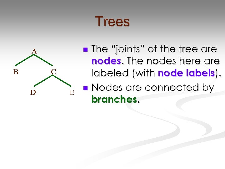 """Trees B C D The """"joints"""" of the tree are nodes. The nodes here"""