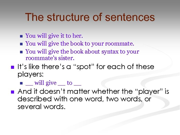 """The structure of sentences n n It's like there's a """"spot"""" for each of"""