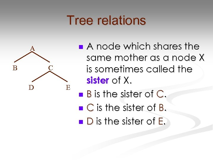 Tree relations B C D A node which shares the same mother as a