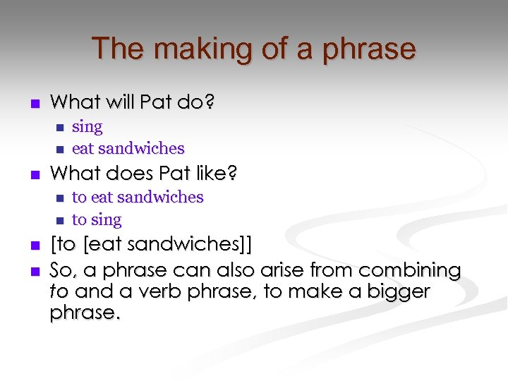 The making of a phrase n What will Pat do? n n n What