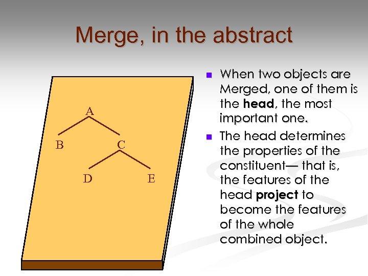 Merge, in the abstract n A B n C D E When two objects