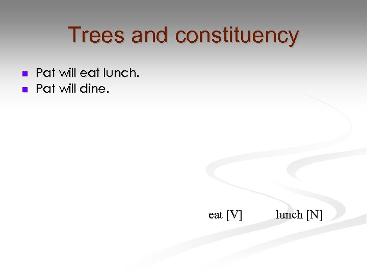 Trees and constituency n n Pat will eat lunch. Pat will dine. eat [V]