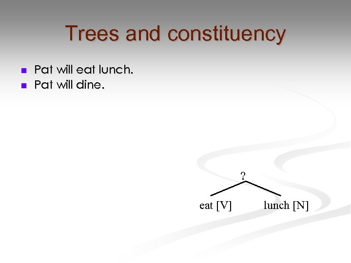 Trees and constituency n n Pat will eat lunch. Pat will dine. ? eat