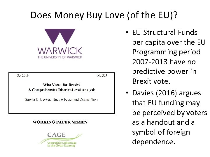 Does Money Buy Love (of the EU)? • EU Structural Funds per capita over