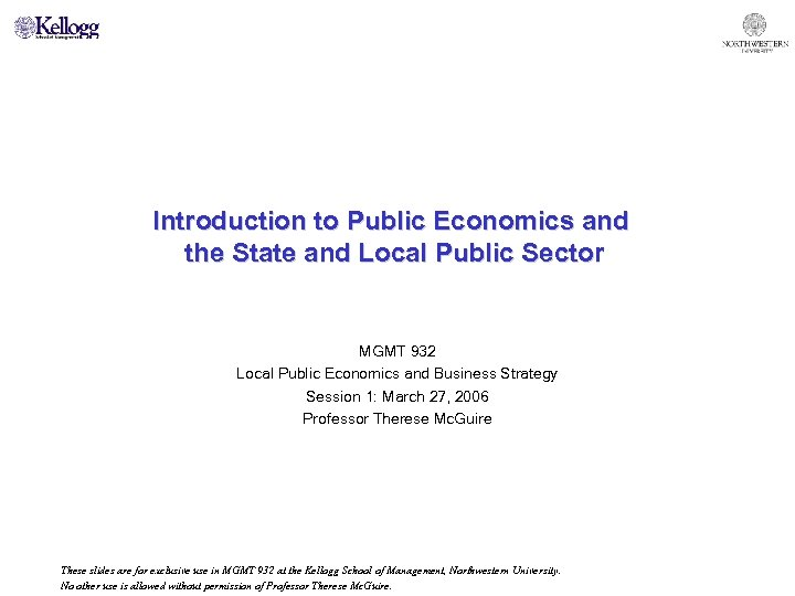 Introduction to Public Economics and the State and Local Public Sector MGMT 932 Local