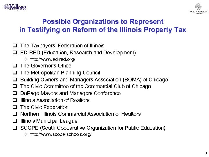 Possible Organizations to Represent in Testifying on Reform of the Illinois Property Tax q