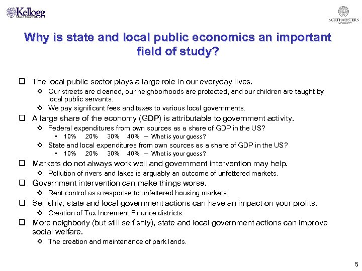 Why is state and local public economics an important field of study? q The