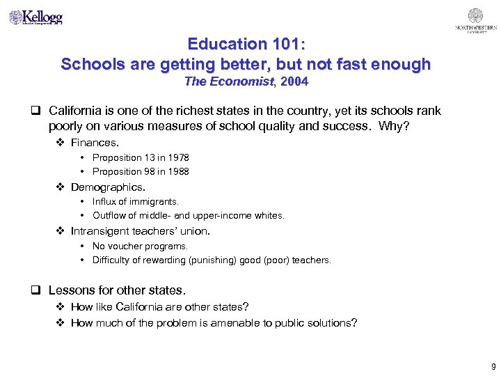 Education 101: Schools are getting better, but not fast enough The Economist, 2004 q