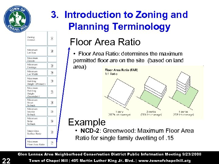 3. Introduction to Zoning and Planning Terminology Floor Area Ratio • Floor Area Ratio: