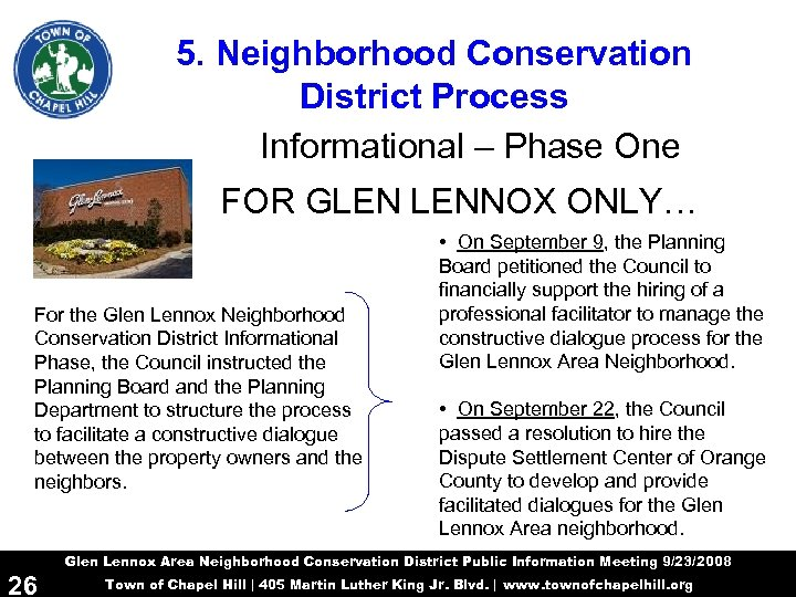 5. Neighborhood Conservation District Process Informational – Phase One FOR GLEN LENNOX ONLY… For