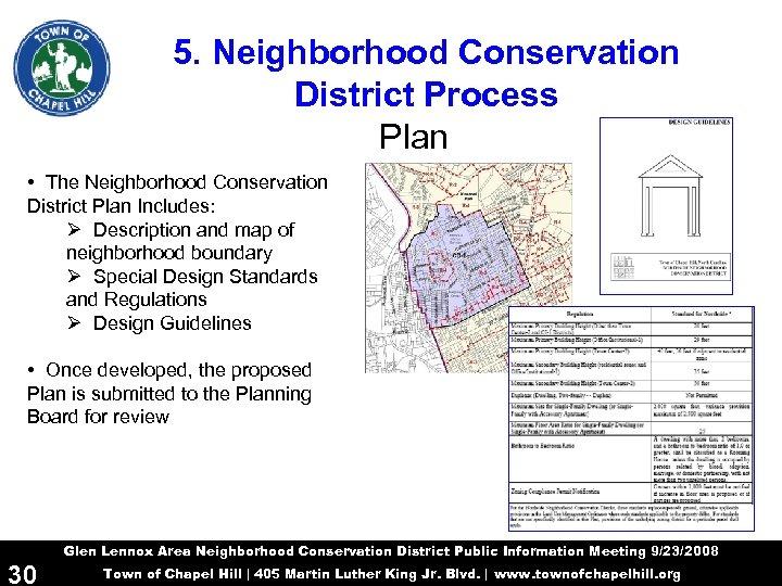 5. Neighborhood Conservation District Process Plan • The Neighborhood Conservation District Plan Includes: Ø