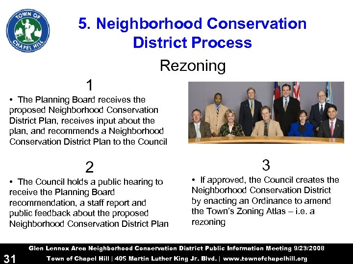 5. Neighborhood Conservation District Process Rezoning 1 • The Planning Board receives the proposed