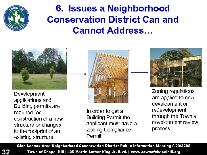 6. Issues a Neighborhood Conservation District Can and Cannot Address… Development applications and Building