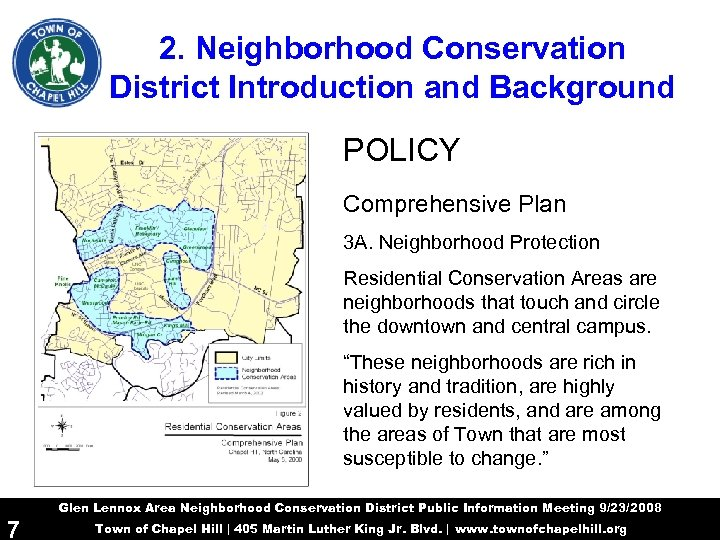 2. Neighborhood Conservation District Introduction and Background POLICY Comprehensive Plan 3 A. Neighborhood Protection
