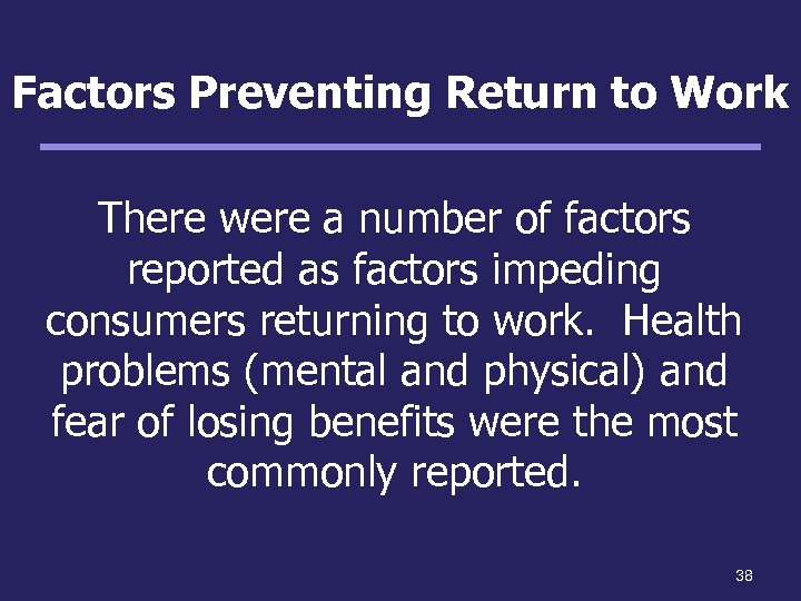 Factors Preventing Return to Work There were a number of factors reported as factors