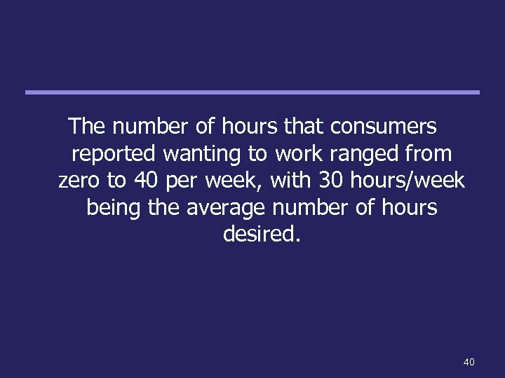 The number of hours that consumers reported wanting to work ranged from zero to
