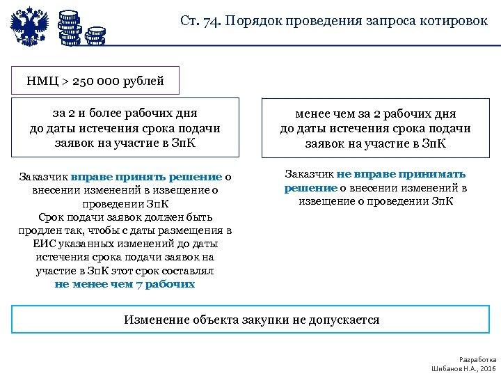 Ст. 74. Порядок проведения запроса котировок НМЦ > 250 000 рублей за 2 и