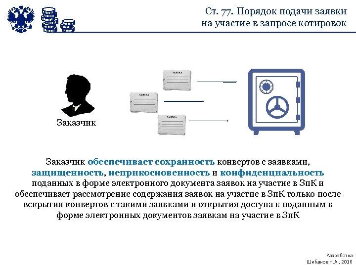 Ст. 77. Порядок подачи заявки на участие в запросе котировок Заказчик обеспечивает сохранность конвертов