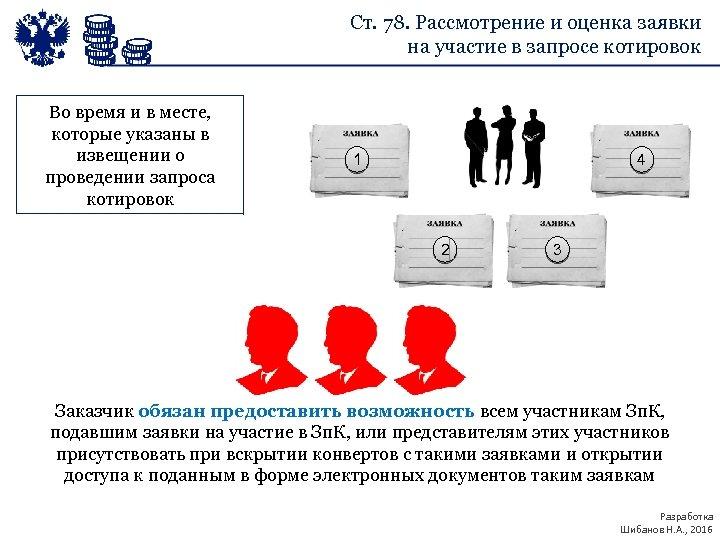 Ст. 78. Рассмотрение и оценка заявки на участие в запросе котировок Во время и